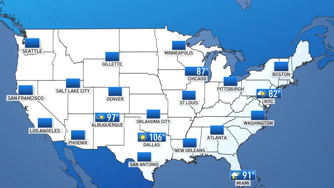 Condiciones del tiempo ésta noche en EEUU